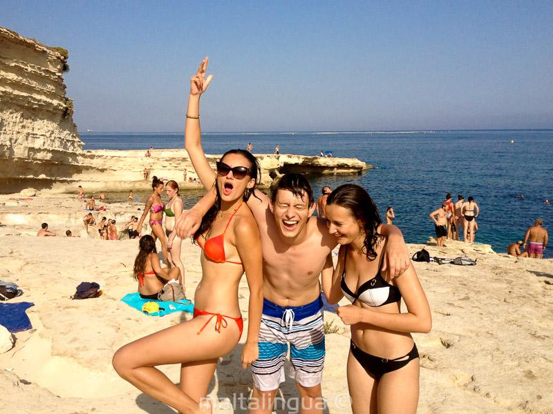 3 Teen Students On A Language School Trip To St Peters Pool Malta