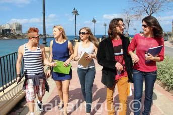 Practicing English after classes in St Julians Bay, Malta