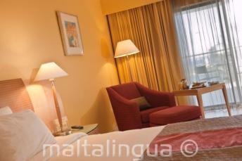 A deluxe guest room in Le Meridien hotel, Malta