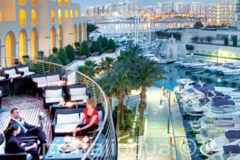 Rear balcony and Portomasso Harbor at the Hilton Malta