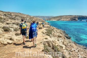 English language students walking next to the Blue Lagoon