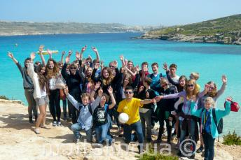 A group of language camp students on a trip to Comino, Malta