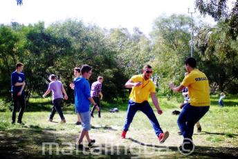 Students playing games at Kennedy Grove park near our junior school residence