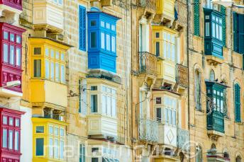 Many colourful Maltese balconies