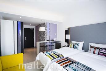 Modern guest room in the Hotel Valentina, Malta