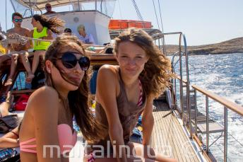 2 teenage girls on a boat trip