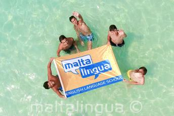 Teen students on a language school trip to the Blue Lagoon, Malta