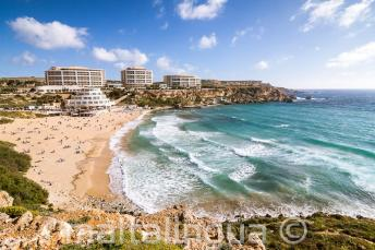 View of Golden Bay beach in Malta