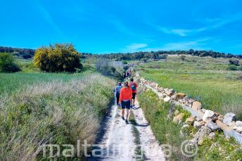 A group of English students walking through the countryside in Malta