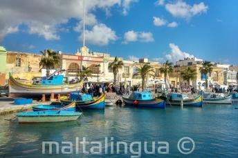 Boats at a fishing village in Malta