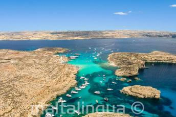 Areal photo of the Blue Lagoon, Comino, Malta