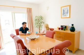 Language school apartment accommodation dining room in St Julians