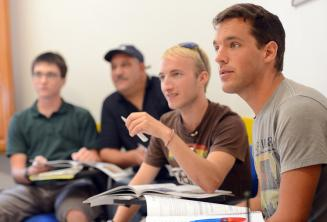Language students listening in class
