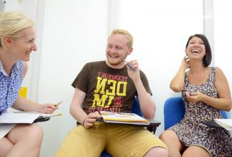 Students laughing and having fun in class