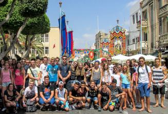 Junior language school students at a festa in Malta