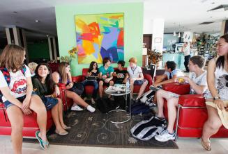English language students in the junior school residence lobby