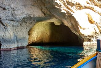 The inside of a cave at Blue Grotto