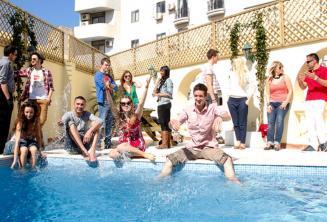 Students enjoying the pool