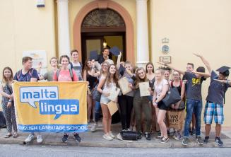 Group photo of teenage English language students outside our school in Malta