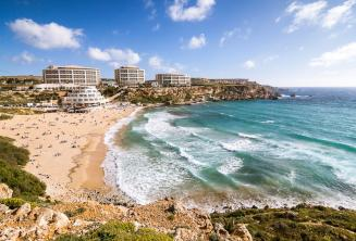 View of Golden Bay beach in Malta