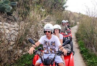 Students on a quad bike tour of Gozo